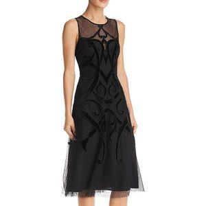 NWT BCBG MaxAzaria Velvet Illusion Dress Black Sz4